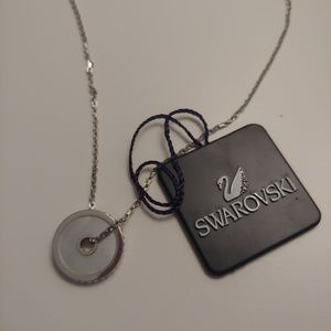 NWT Swarovski Mother of Pearl Disk Necklace